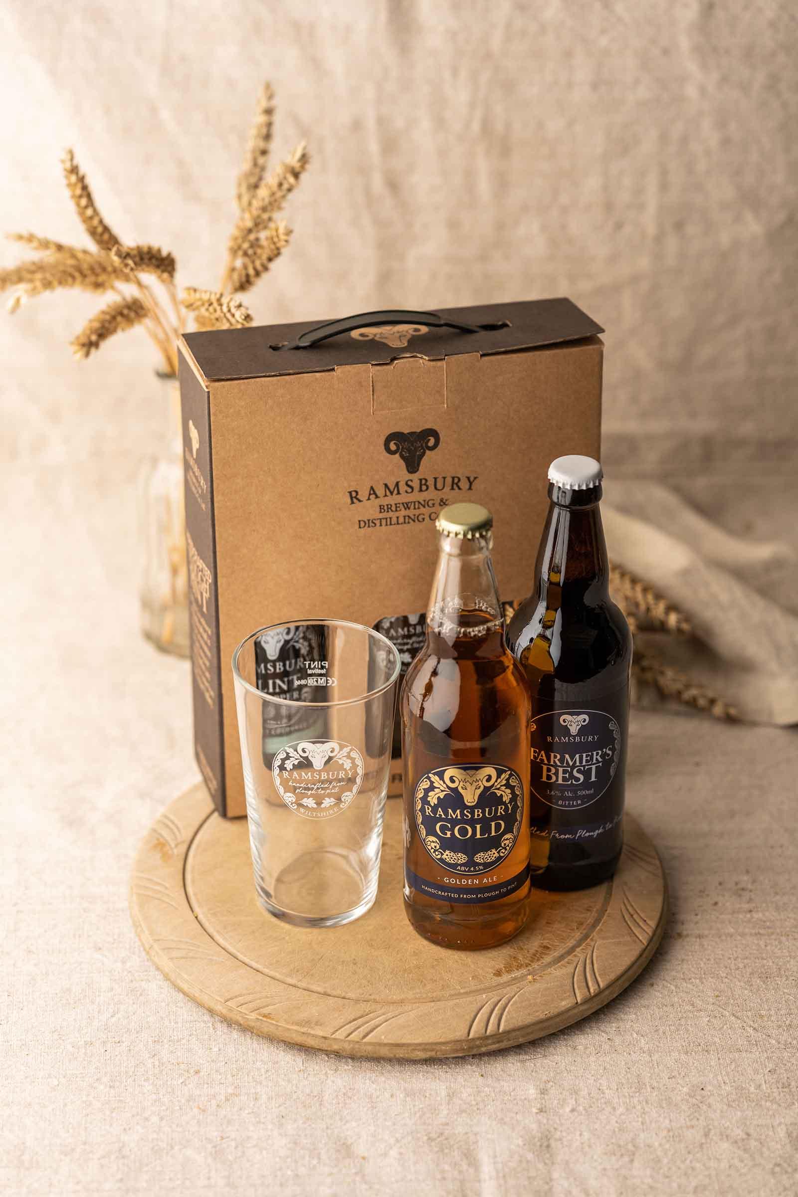 2 Bottle Beer & Glass Gift Set